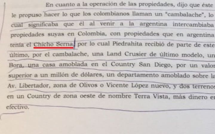 Documento divulgado por el diario Clarín