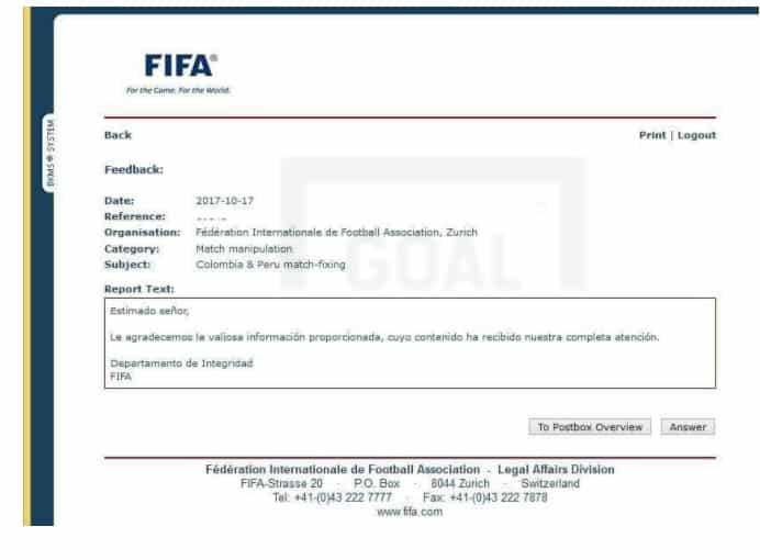 Comunicado de la Fifa.
