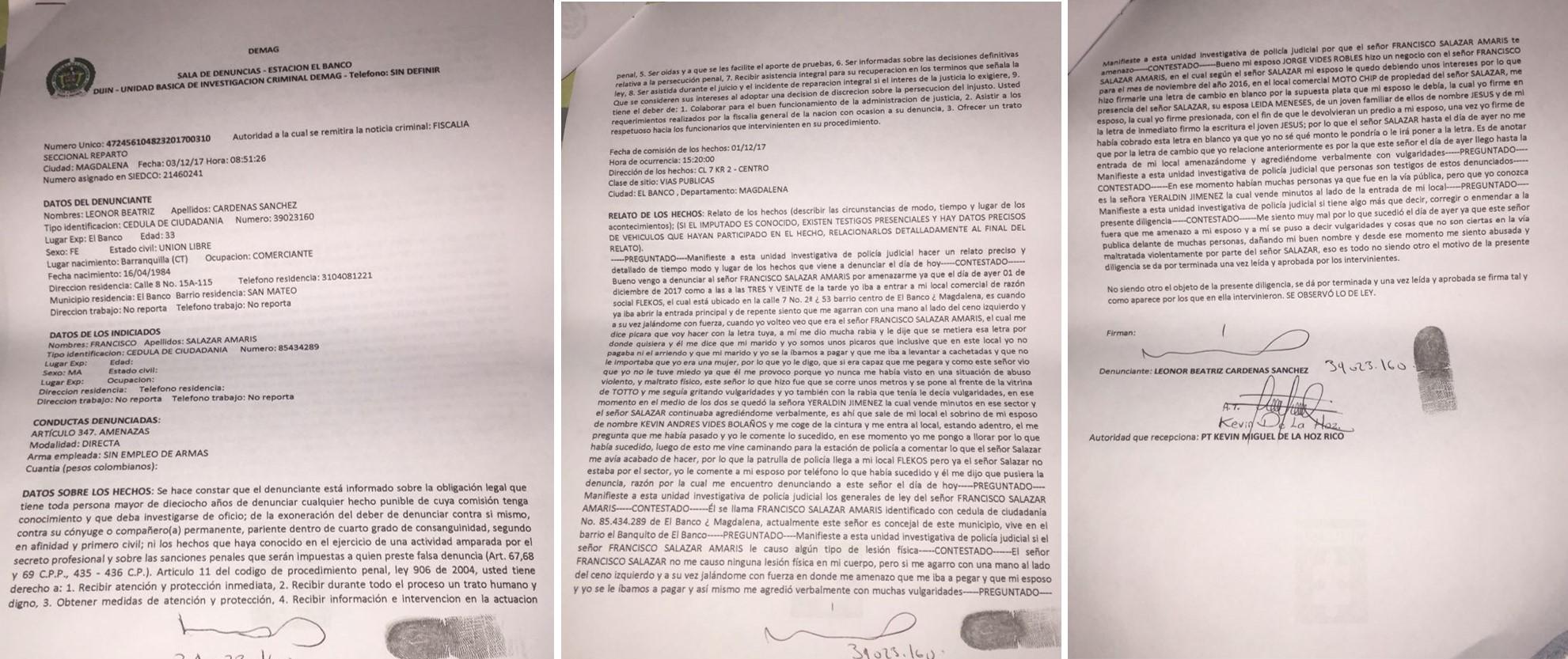 La denuncia de Leonor Cárdenas Sánchez.