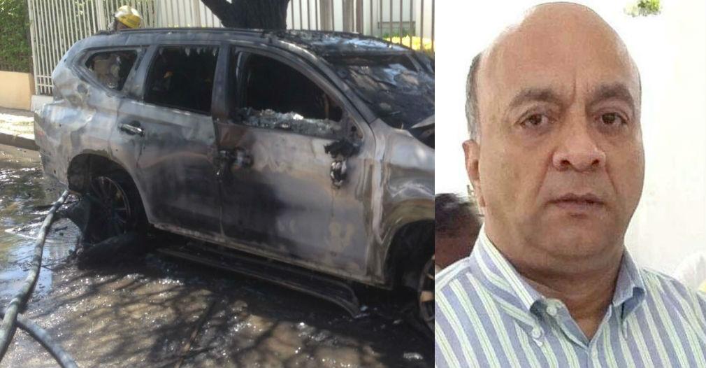 Así quedó la camioneta asignada a Hernando Escobar, luego de que desconocidos le prendieran fuego en la puerta de su casa.