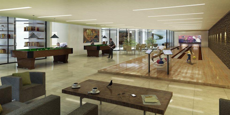 El Club House estará localizado en un piso inferior a la zona común.