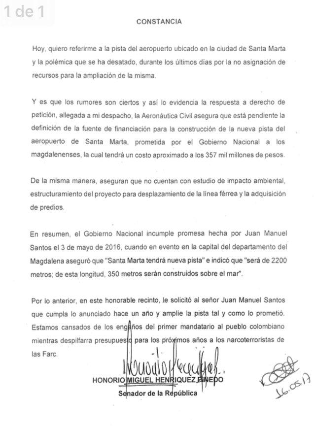 El senador Henríquez difundió la constancia a través de su cuenta de Twitter.