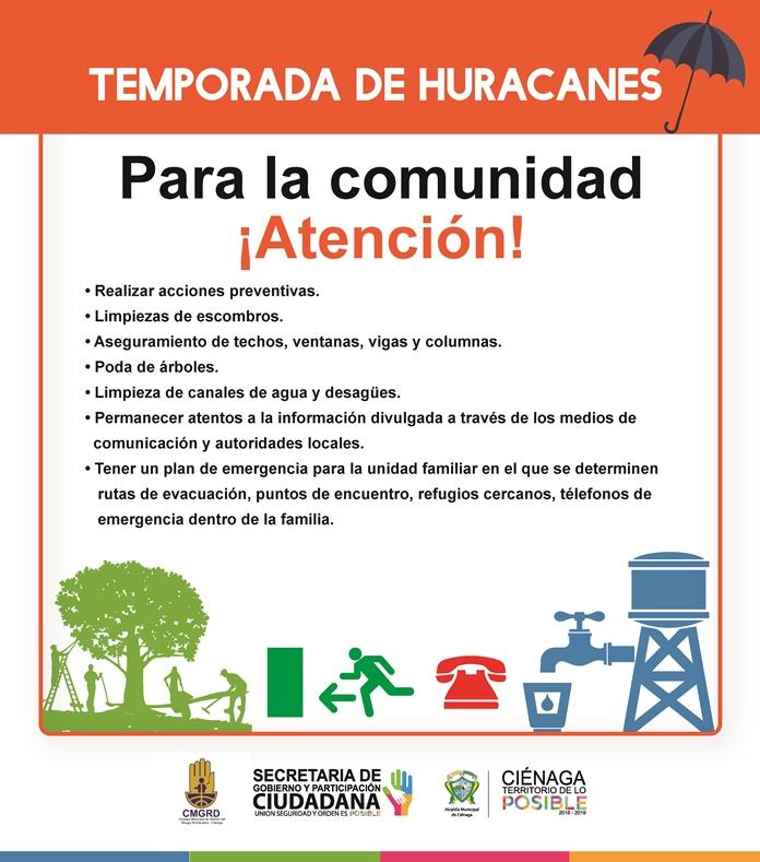 Recomendaciones para la comunidad del municipio.