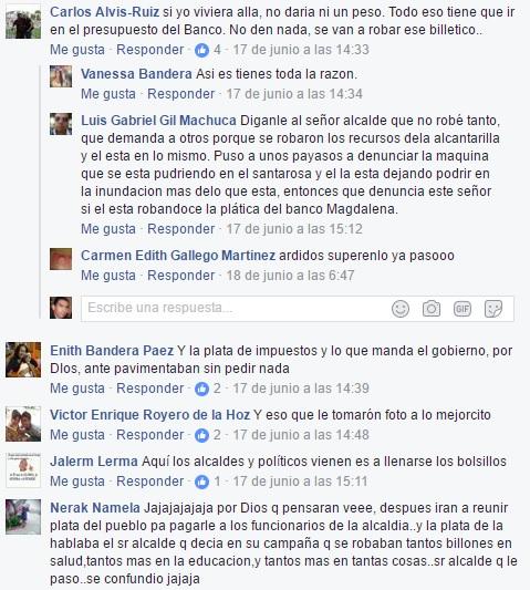 Algunos de los comentarios que han hechos los usuarios a través de Facebook.
