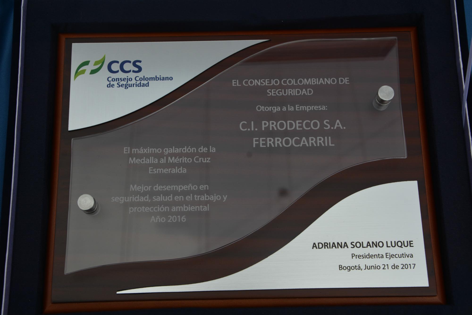 Este fue el reconocimiento que el Consejo Colombiano de Seguridad entregó al Grupo Prodeco.