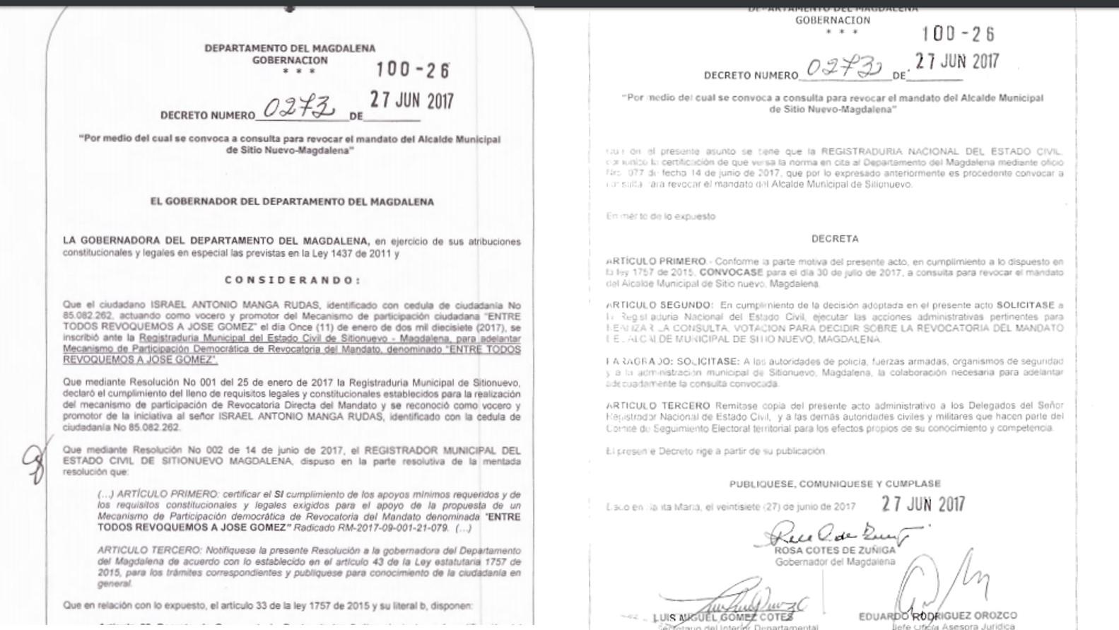 Decreto expedido por la Gobernación del Magdalena.