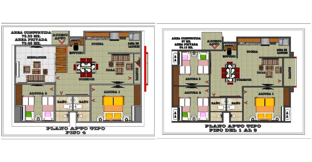 Plano general de los apartamentos del primer al cuarto piso.