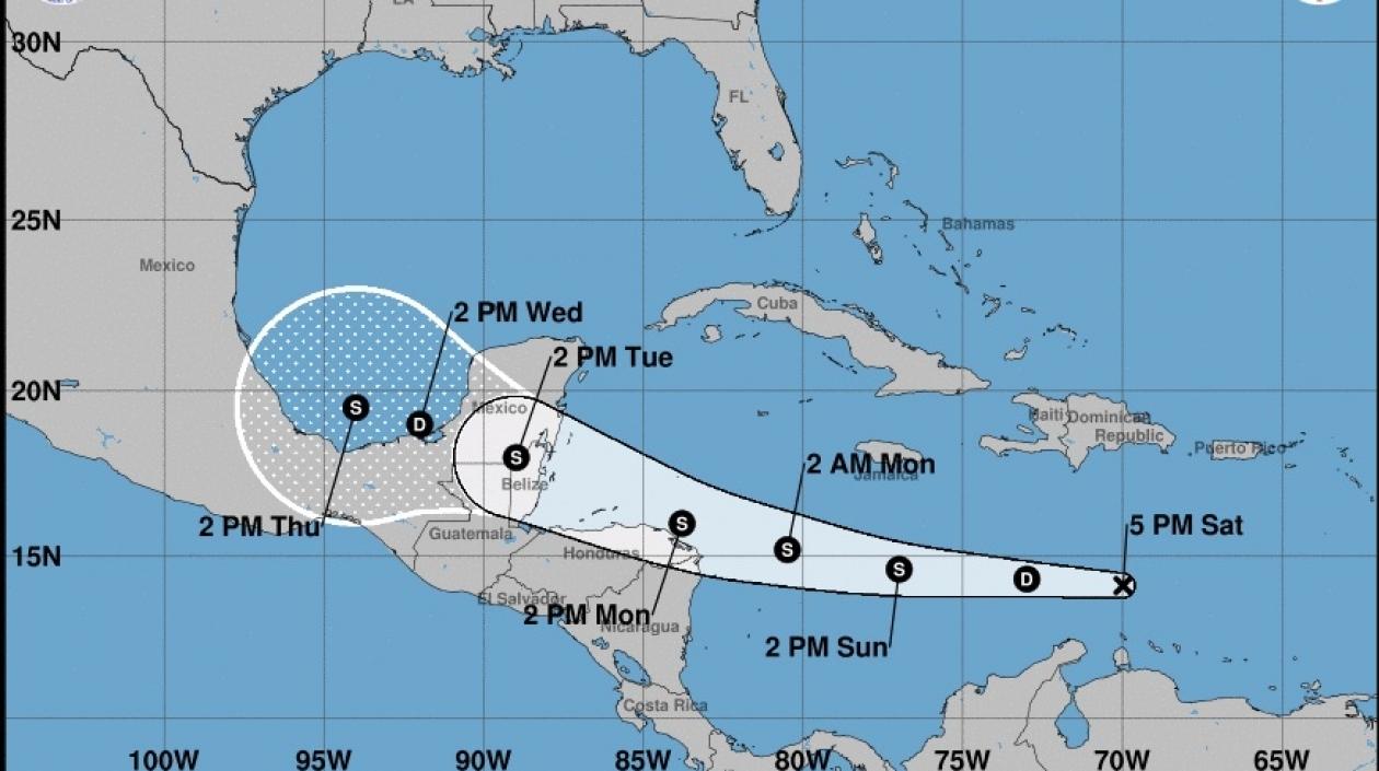Harvey se debilitó a depresión tropical a su paso por el Mar Caribe