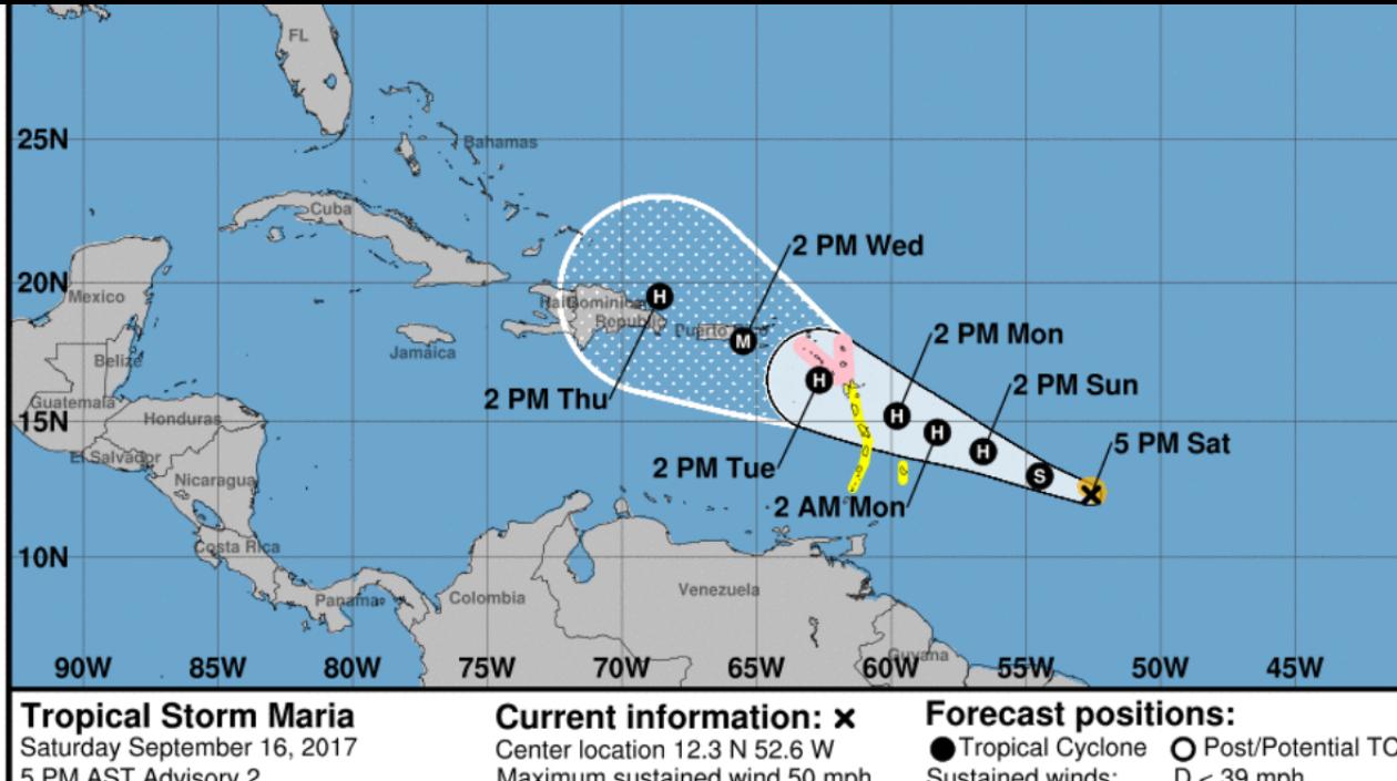 Tormenta tropical 'María', tras los pasos de 'Irma'