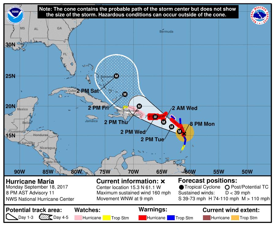 Reporte del huracán María: 8 p.m. del lunes.
