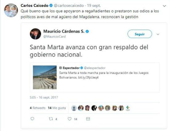 Este fue el tuit que disgustó al ministro Mauricio Cárdenas.