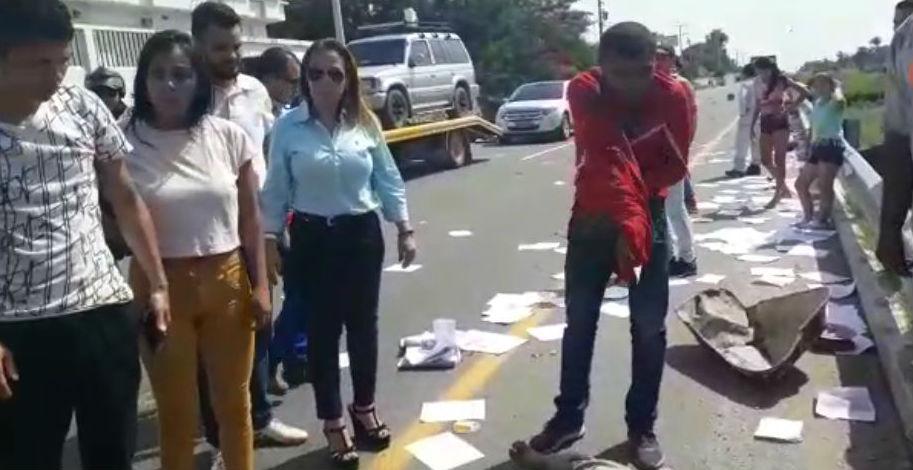 En la imagen capture de un video se observa a la candidata a la cámara de representantes por el partido de la U, Dilia Barón.