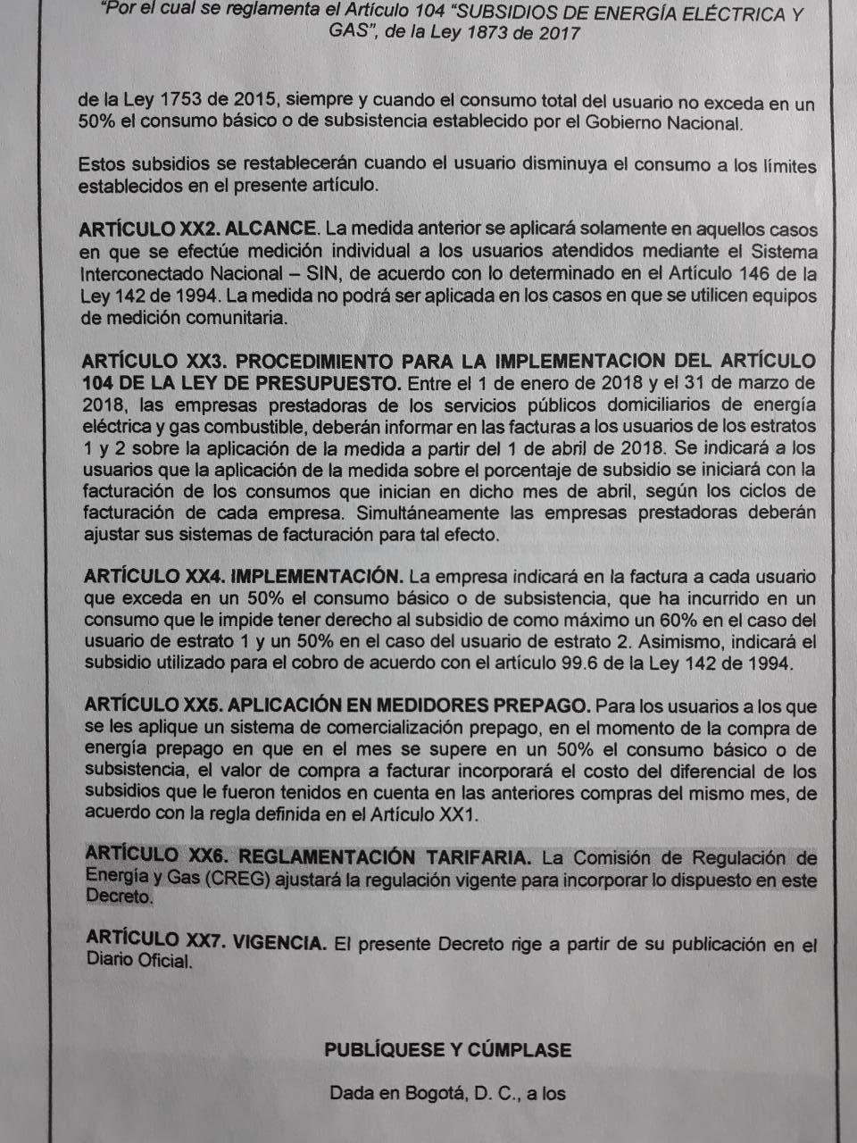 Resolución del decreto en borrador.