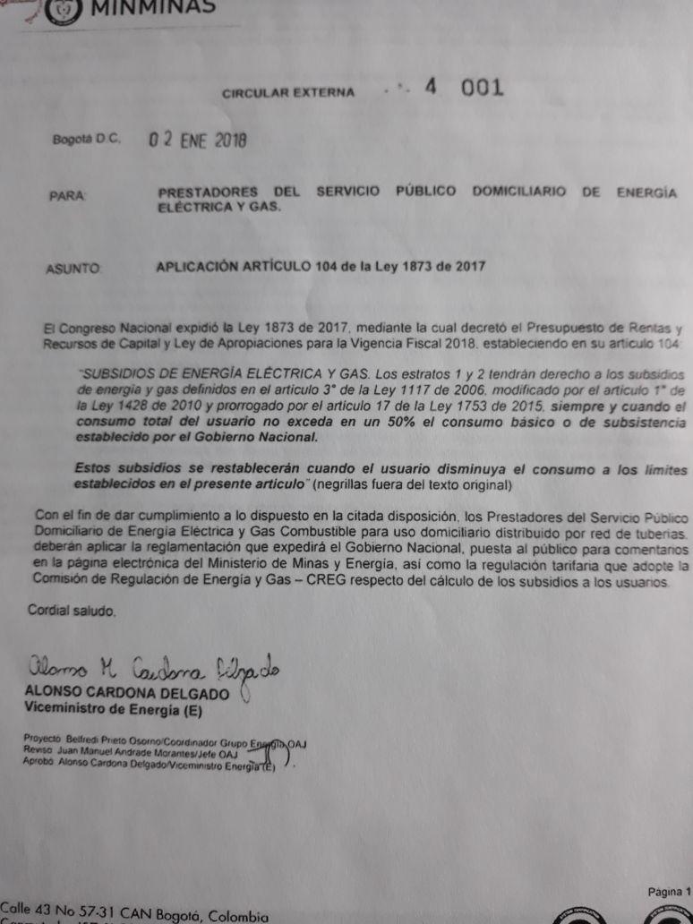 Esta es la circular que expidió el Ministerio de Minas y Energía con la firma del viceministro Alonso Cardona Delgado.