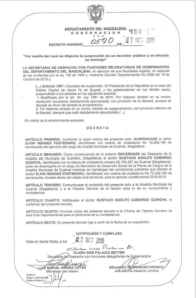 Decreto 0590 de la Gobernación.