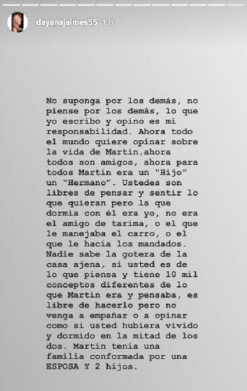 Publicación de Jaimes en Instagram.