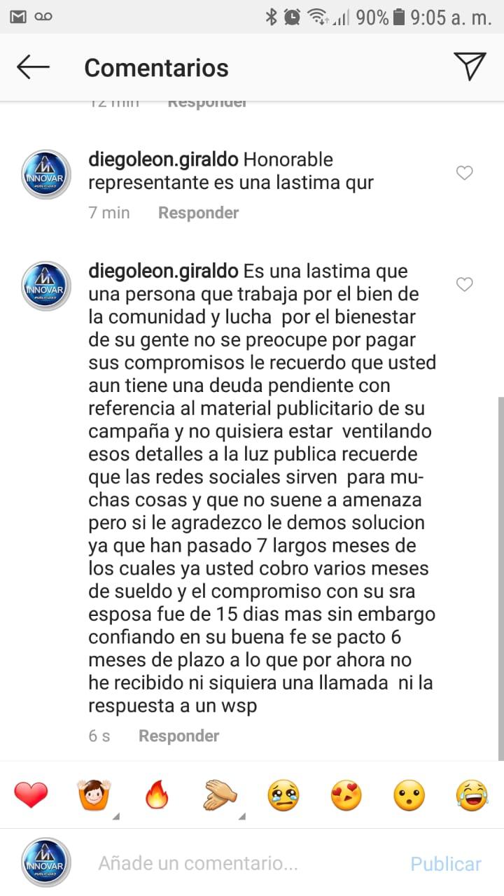 El empresario publicó en días pasado en una foto publicada en la cuenta de Instagram del Representante.