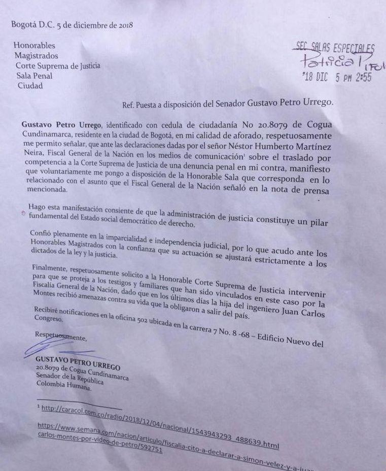 Esta es la carta que radicó Gustavo Petro ante la Corte Suprema.