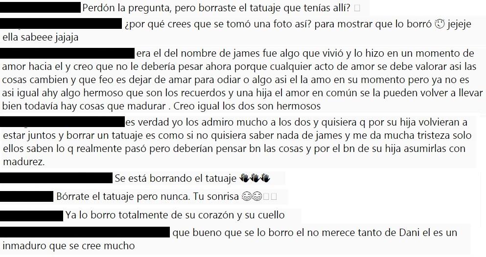 Comentarios de los seguidores de Daniela Ospina y James Rodríguez