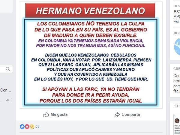 Aviso en Facebook que invita a los venezolanos a no votar por las Farc.