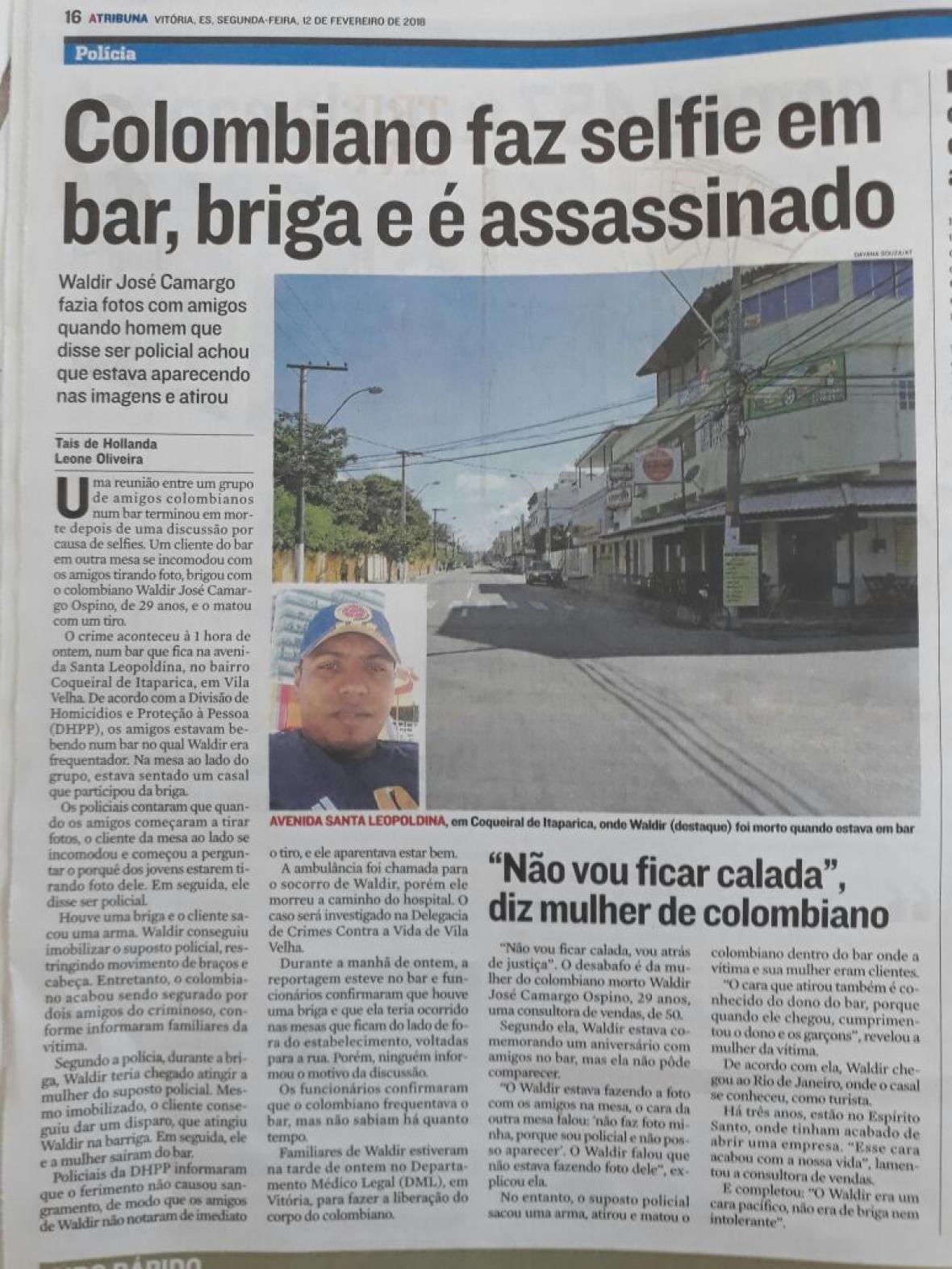 Recorte de periódico brasileño donde se encuentra la noticia del asesinato del samario.