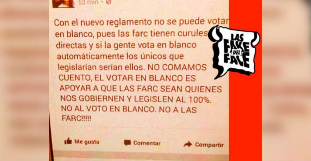 Nota falsa sobre el voto en blanco y las Farc difundida en facebook