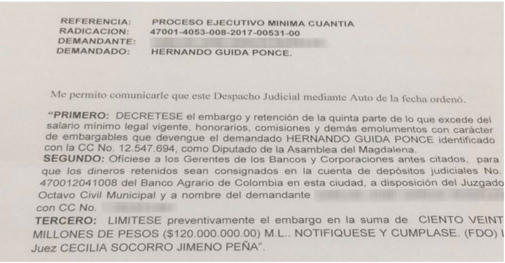 Juez ordenó embargar cuentas de Hernando Guida hasta que pague 120 millones de pesos.