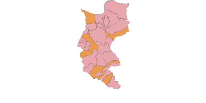 Mapa electoral del Magdalena al Senado: los municipios en rosado son de Cambio Radical.