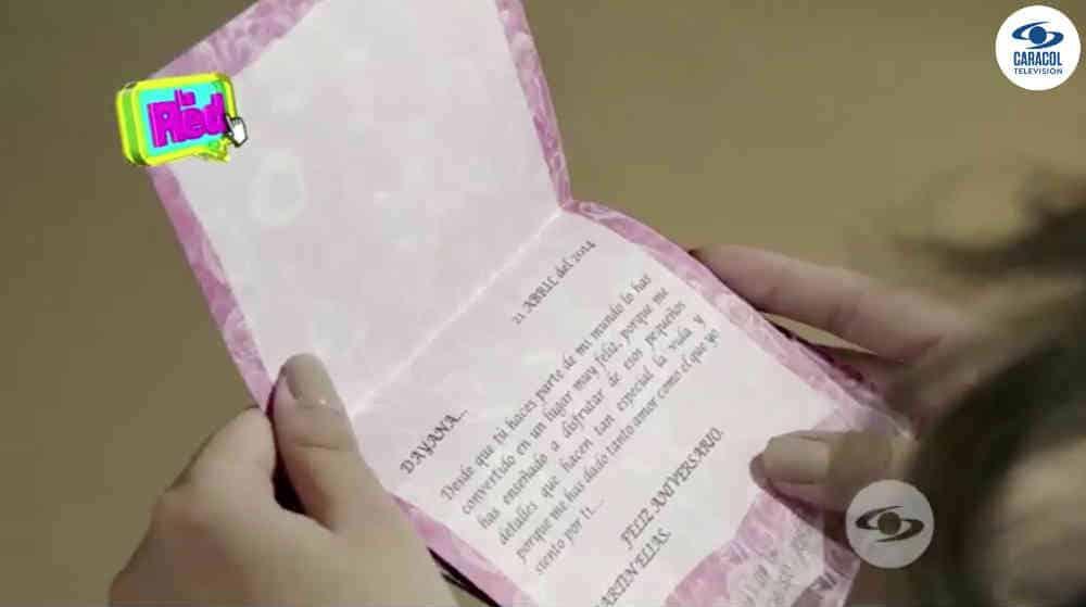 Una de las cartas que el artista le envió a Dayana Jaime.