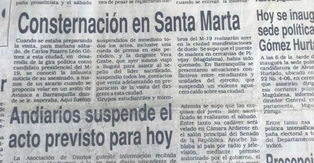 La muerte de Pizarro generó consternación en Santa Marta.