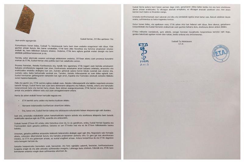 El comunicado que emitió la organización ETA.