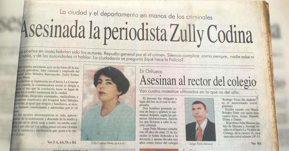 Registro de prensa de la muerte de la periodista Zully Codina.