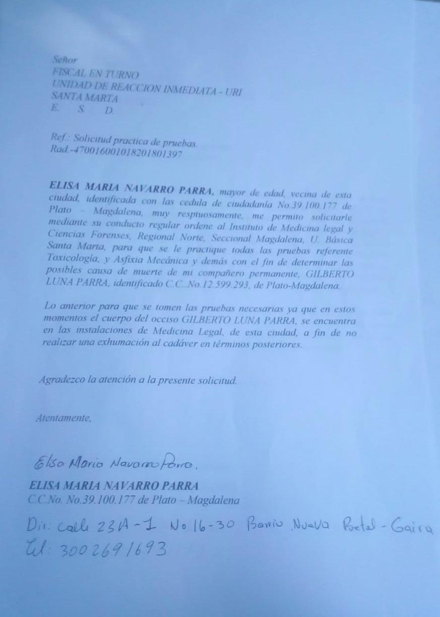 Oficio de Elisa Navarro a la Fiscalía.
