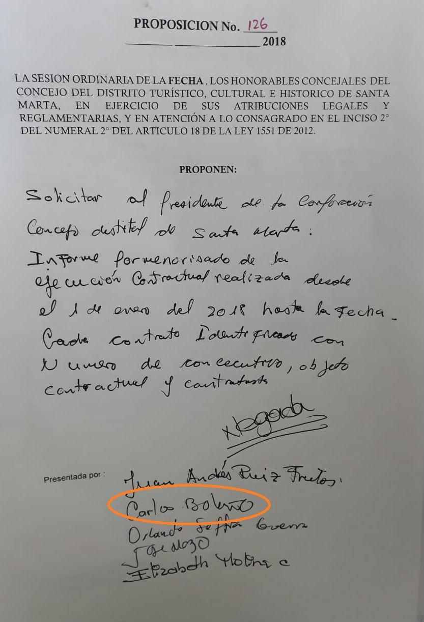 Proposición presentada para solicitar contratos al presidentes del Concejo.
