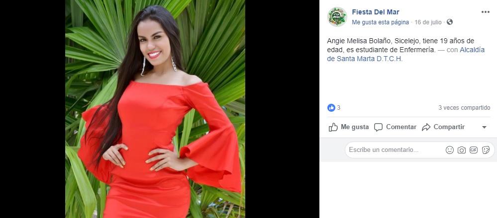 Post de la página oficial de la Fiesta del Mar, promocionando la participación de la candidata de Sincelejo.