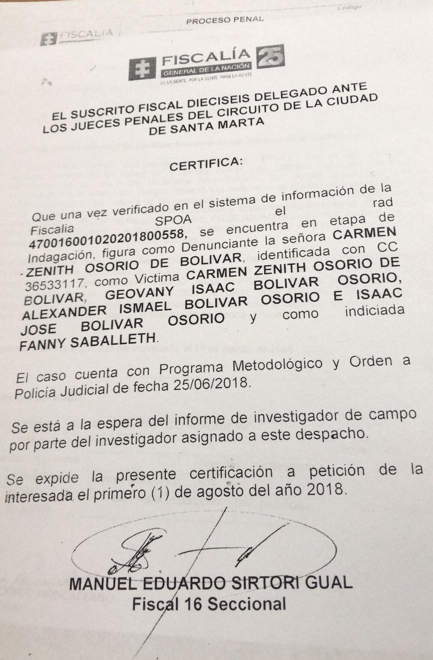 Certificado de la Fiscalía.