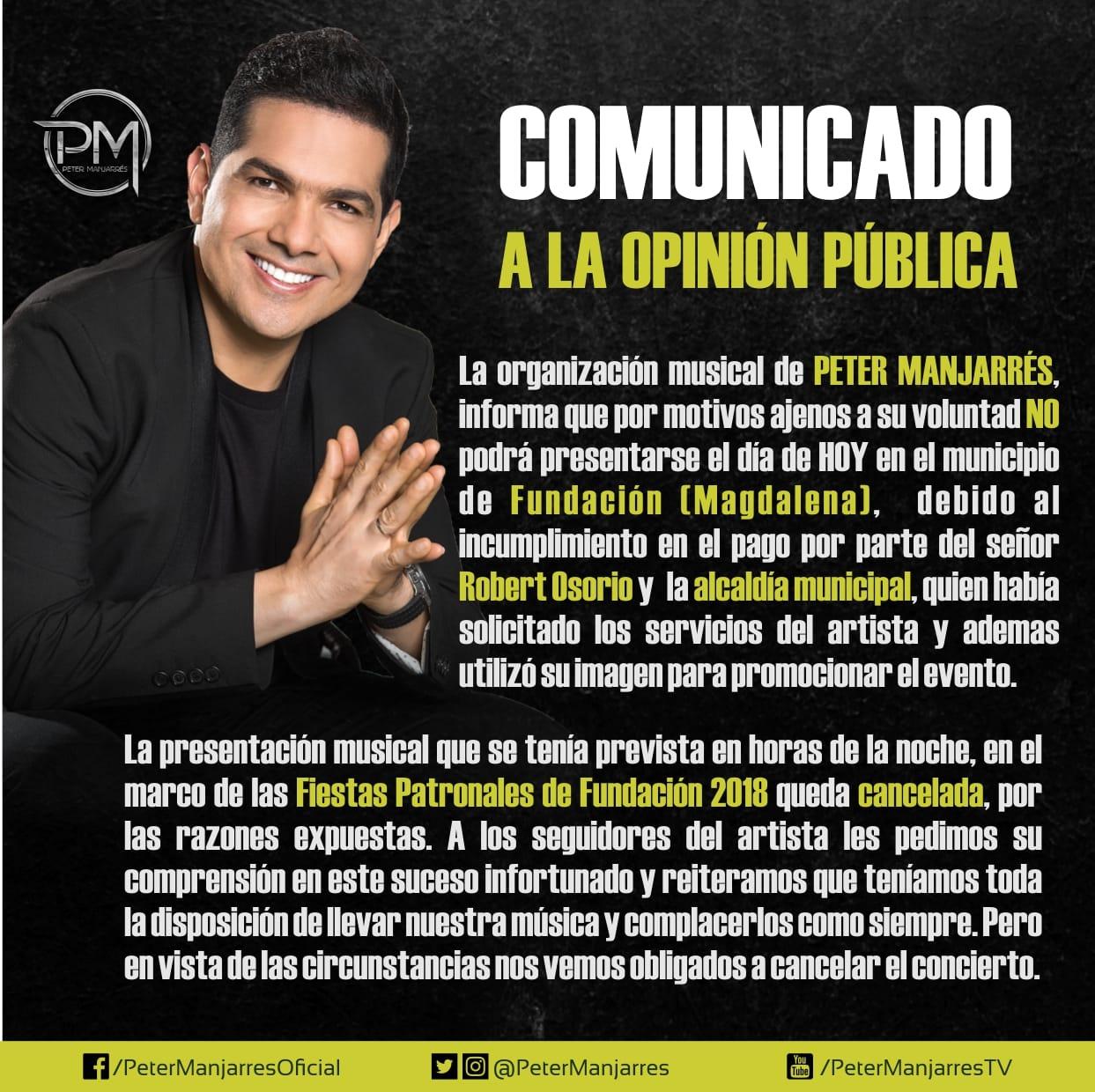 Comunicado oficial de la organización Peter Majarres.