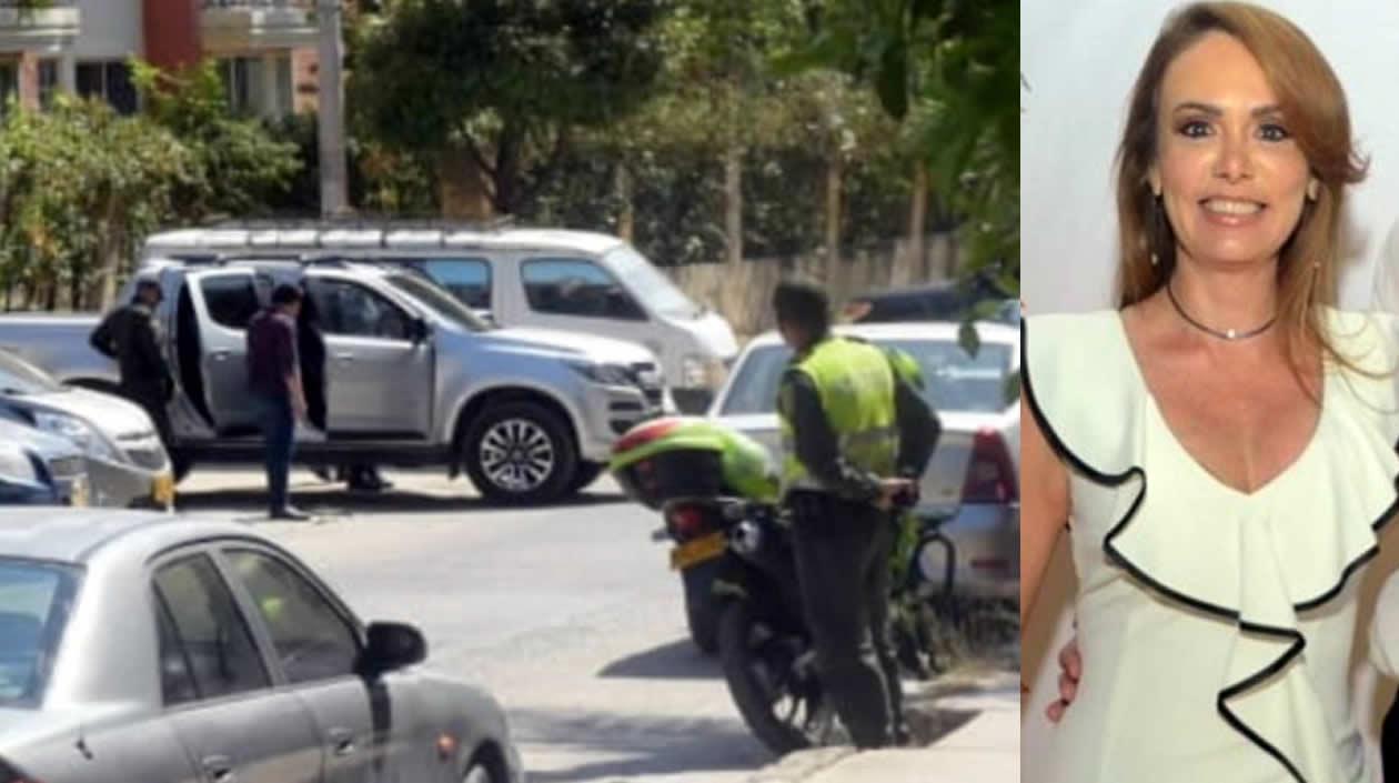 La camioneta siendo inspeccionada por las autoridades en Colina Campestre - Kathya Barros.