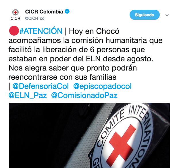 Con este tweet, la Cruz Roja Colombiana confirmó la liberación de los seis secuestrados.