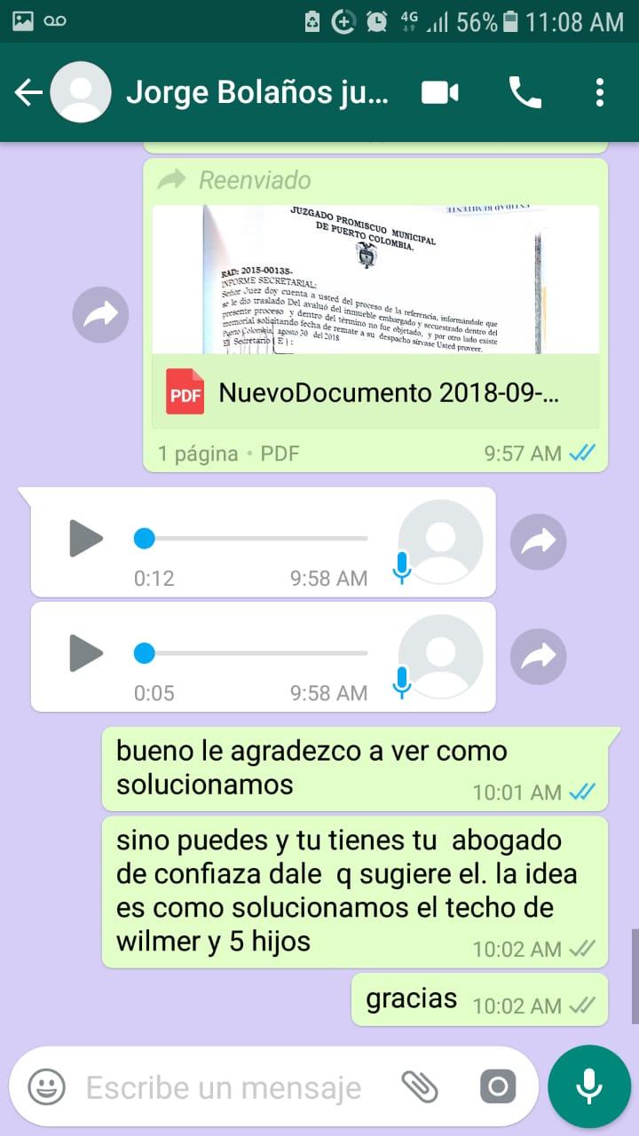 Conversación entre Kenny Peralta, hermana del afectado y Jorge Bolaño 'Bolañito'.