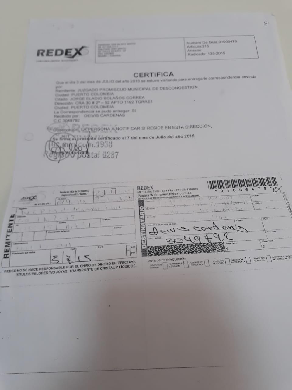 Notificación de la inmobiliaria a 'Bolañito'.