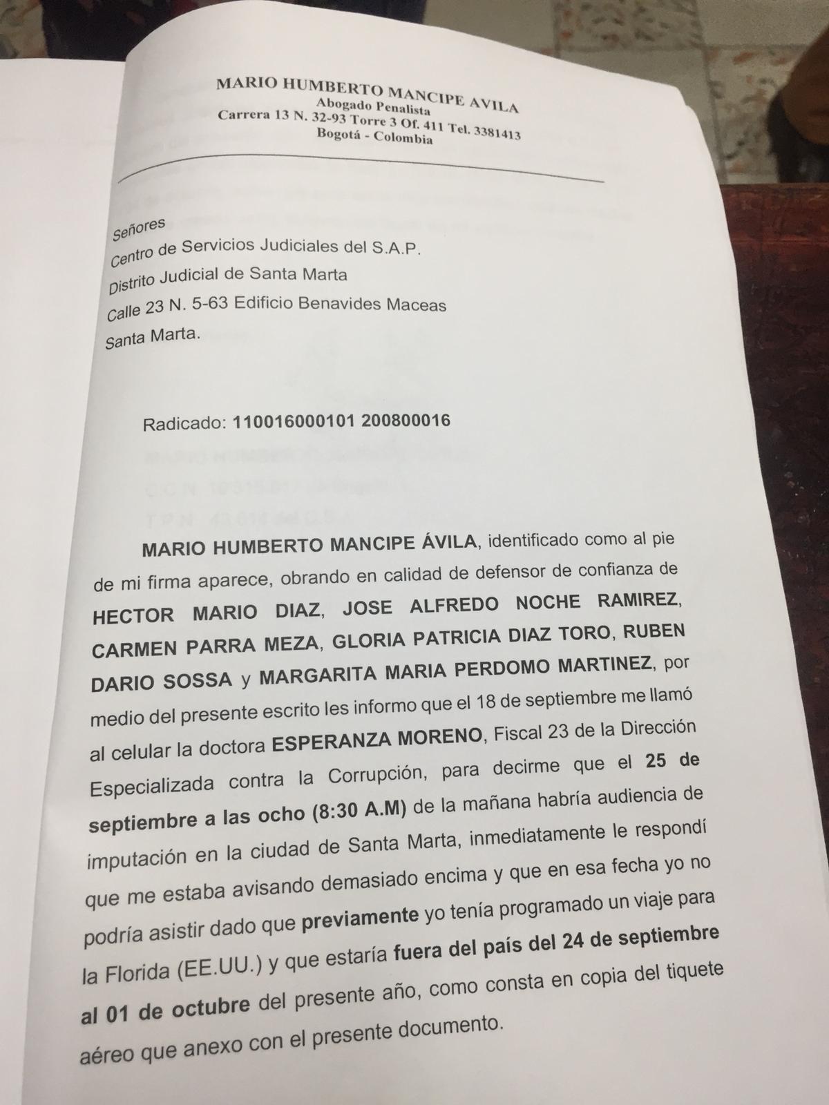 Página 1 del oficio presentado por el abogado de la defensa.