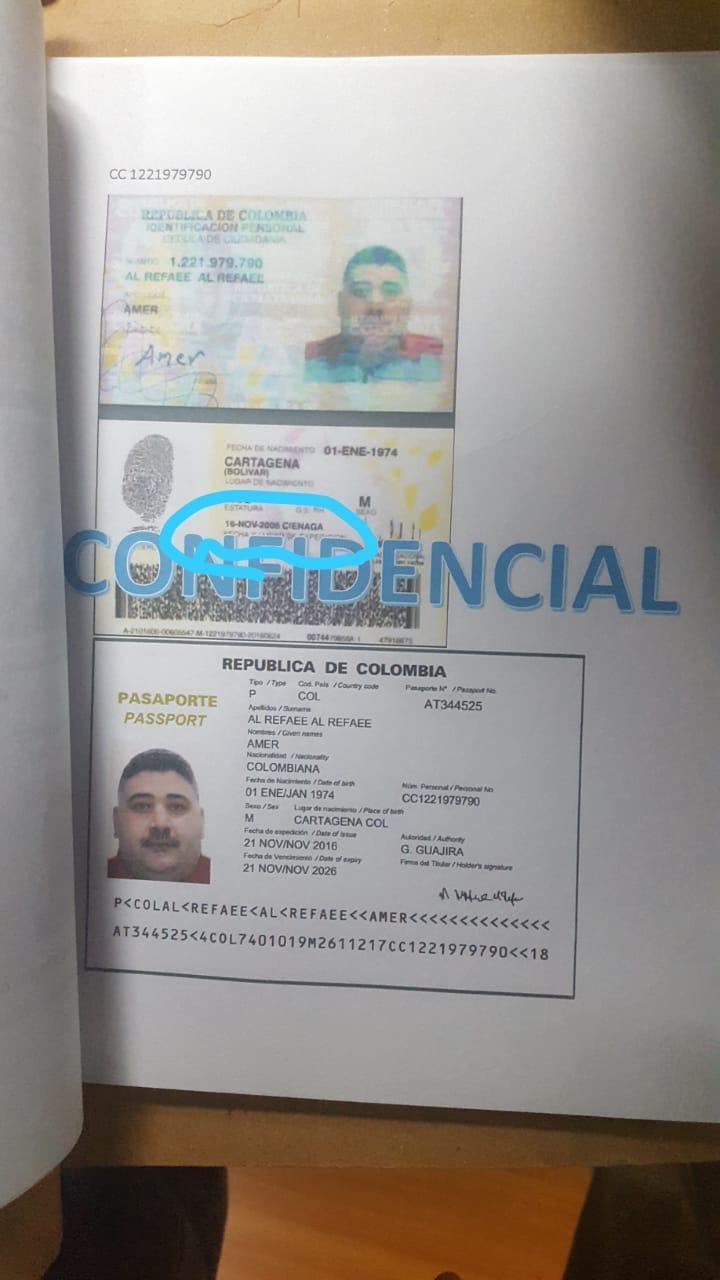 Facsímil donde se muestra la documentación colombiana de uno de los ciudadanos presuntamente extranjeros.