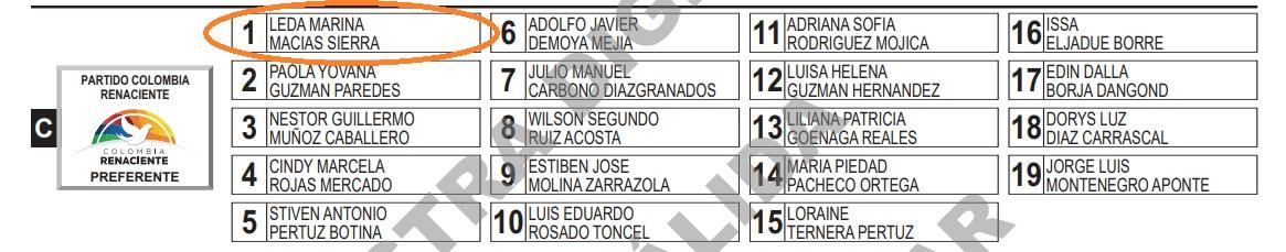 Así aparece Leda Macías en la lista del Centro Democrático al Concejo.