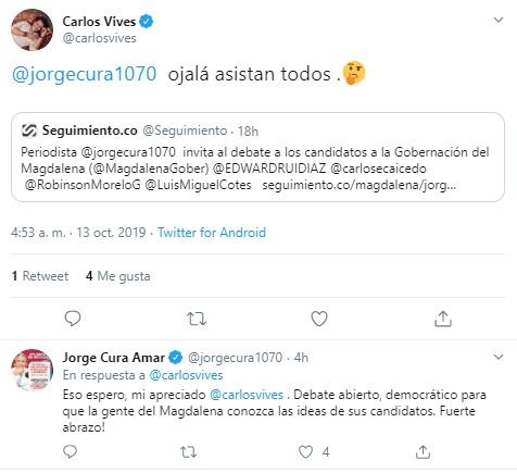 Trino de Carlos Vives sobre el Gran Debate Magdalena.