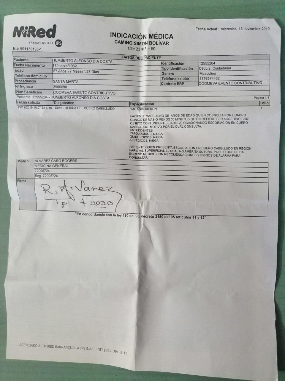 Este es el reporte médico remitido por Humberto Díaz.