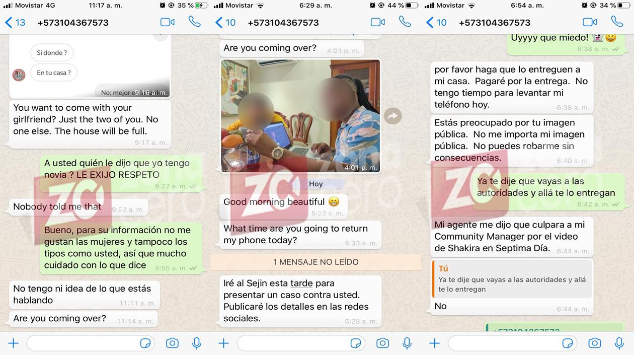 Los chats que proporcionó la periodista a Zona Cero, en donde la está intimidando con el tema del celular.