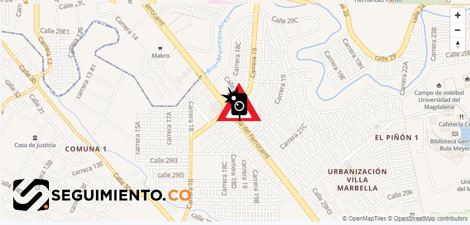 Punto de referencia: la intersección del Centro Comercial Las Palmas.