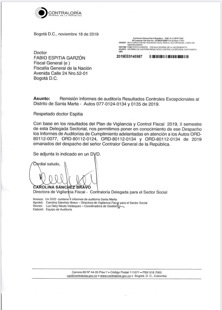 Este fue el oficio que remitió la Contraloría General de la República a la Fiscalía.