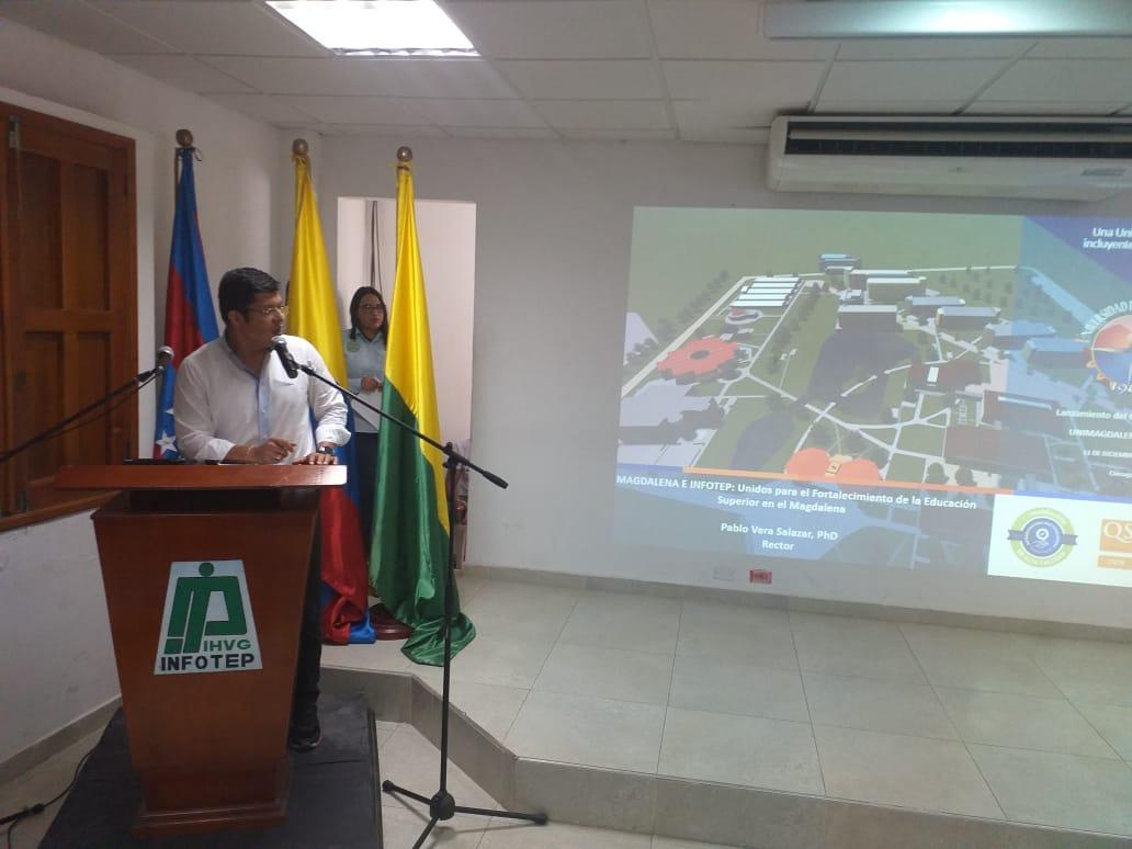El rector Pablo Vera habló del proyecto de estampillas para beneficiar a los estudiantes de Ciénaga en la Unimagdalena.